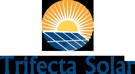 Trifect Solar logo - a sun over a dozen solar panels